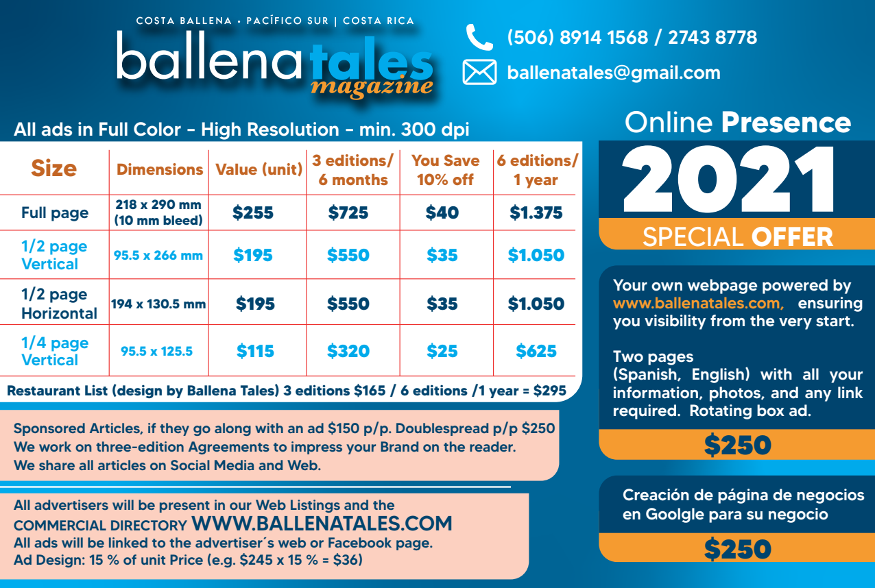 Advertise with us - Ballena Tales Price list 2021