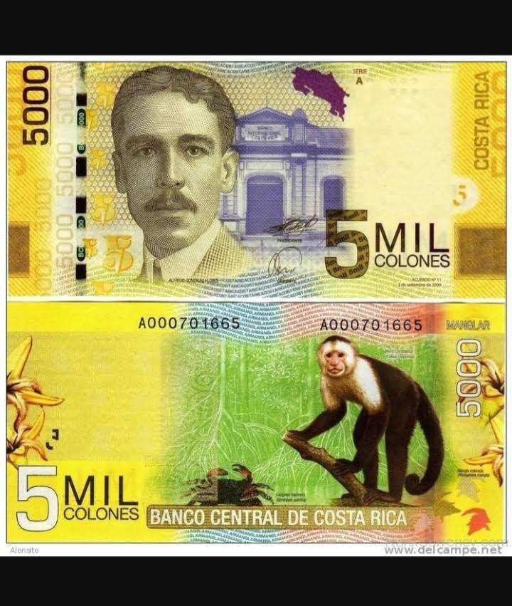 Costa Rica´s wunderschöne Banknoten- der 5000 Colones Schein