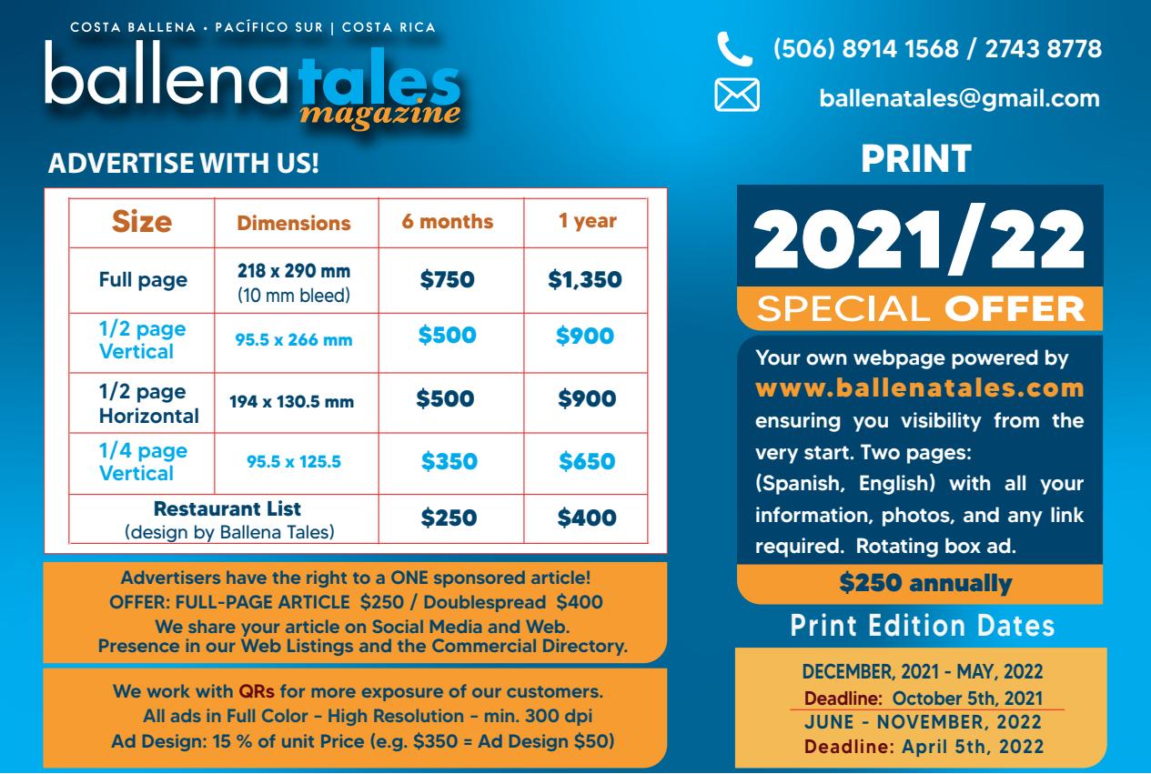 Anúnciese con Ballena Tales, Revista y Guía de Viajeros